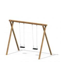 Balançoire rustique bois rond autoclave pour aire de jeux