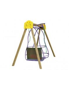 Balançoire adaptée pour fauteuils roulants pour aire de jeux