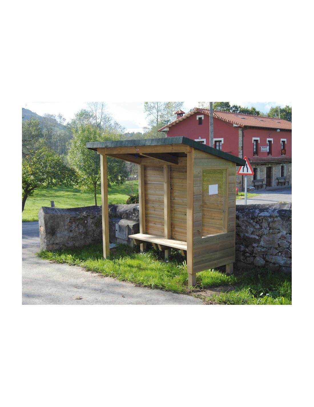 abribus rustique en bois avec banc. Black Bedroom Furniture Sets. Home Design Ideas